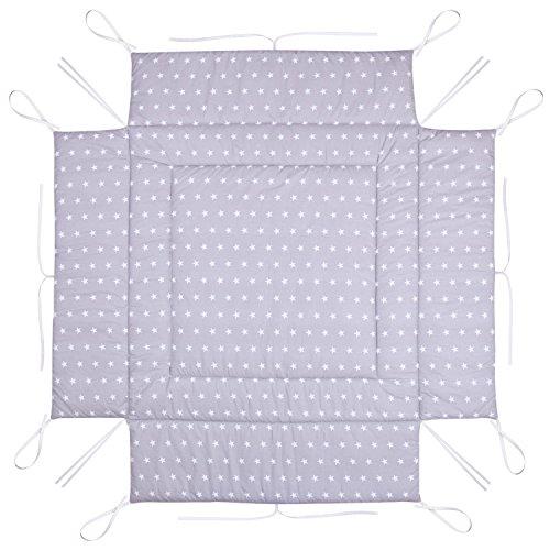 Amilian Laufstalleinlage Laufgittereinlage Schutzeinlage 100 x 100 cm Sternchen grau