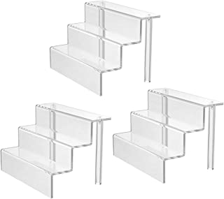 Femeli 3 Tiers Clear Acrylic Display Risers Display Shelf for Collectibles Action Figures Amiibo Pop Funko Craft Show,Table Top(9 x 6 Inch,3 Pack)