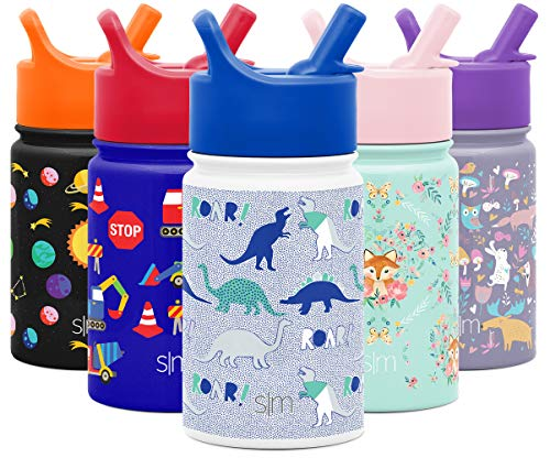 Simple Modern 10oz Summit Kids Water Bottle Thermos with Straw Lid - Dishwasher Safe Vacuum Insulated Double Wall Tumbler Travel Cup 18/8 Stainless Steel -Dinosaur Roar