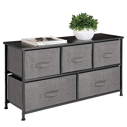 For Sale! mDesign Extra Wide Dresser Storage Tower – Sturdy Steel Frame, Wood Top, Easy Pull Fabric Bins – Organizer Unit for Bedroom, Hallway, Entryway, Closet – Textured Print, 5 Drawers – Charcoal Gray/Black