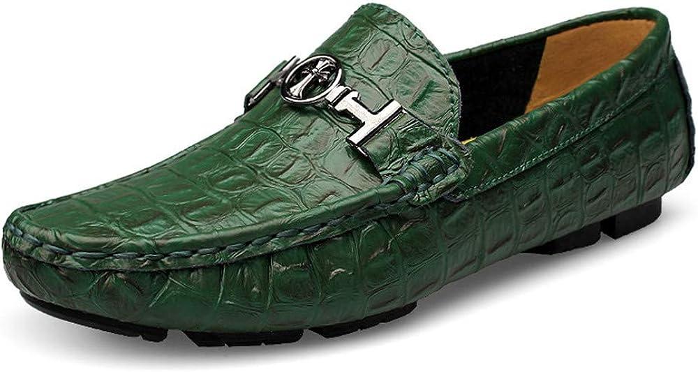 Asifn scarpe mocassini da uomo in morbida pelle verde