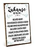 TypeStoff Holzschild mit Spruch – ZUHAUSE – Schild, Bild im Vintage-Look mit Zitat als Geschenk...