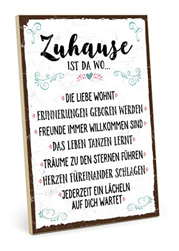 TypeStoff Holzschild mit Spruch – ZUHAUSE – Schild, Bild im Vintage-Erscheinungsbild mit Zitat als Geschenk & Dekoration zum Thema Familie, Liebe & Geborgenheit – Sprüche Schilder (19,5 x 28,2 cm)