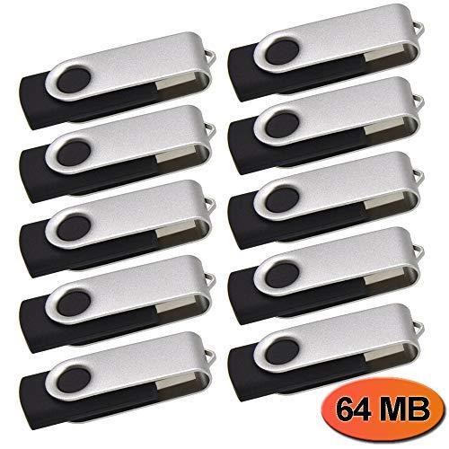 10 Piezas 64MB Pendrives, Práctica y Portátil Memoria USB 2.0 - Kepmem Plata Pequeña Capacidad Pen Drive Giratorio 64 MB Metal Llavero Memoria Stick Regalo para Almacenar Poca Informacion