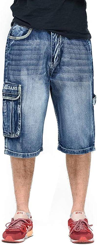 Ruiatoo Men's Outdoor Cargo Multi-Pocket Denim Jeans Work Cargo Pants
