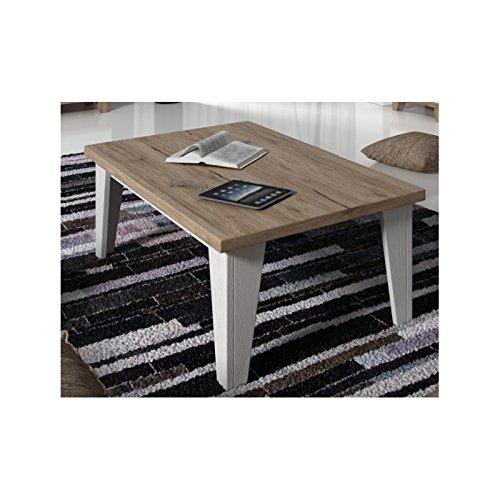 tendencio Table Basse carrée Lier Style scandinave - Blanc et Bois