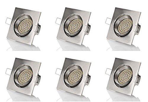 6 x stück sweet led® Flaches Design LED Einbaustrahler Flach | 320 Lumen | 3.5W | 230V | Edelstahl Optik | Rund - Eckig | Schwenkbar Einbauspots Einbauleuchten Einbau led (Eckig-Warmweiß)