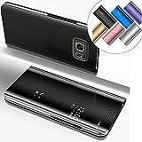 EMAXELERS Funda Samsung Galaxy S6 Edge Plus Espejo Caja de Maquillaje con Marco de Cuero de la PU Flip Protectora de Cuerpo Completo para Samsung Galaxy S6 Edge Plus Mirror PU : Black