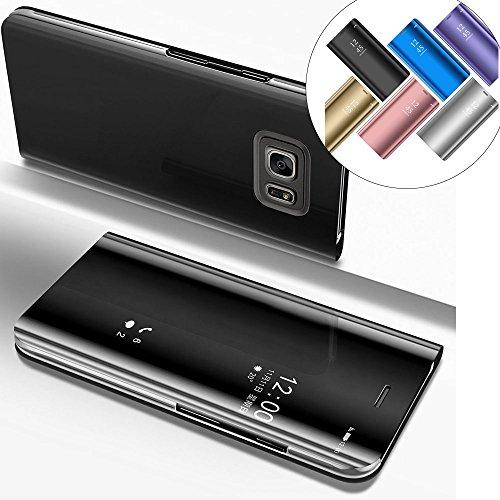 EMAXELERS Galaxy S6 Edge Plus Hülle Glitzer Spiegel Mirror Makeup magnetisch Schutzhülle Handytasche Tasche Flip Hard Case Hülle für Samsung Galaxy S6 Edge Plus,Mirror PU:Black
