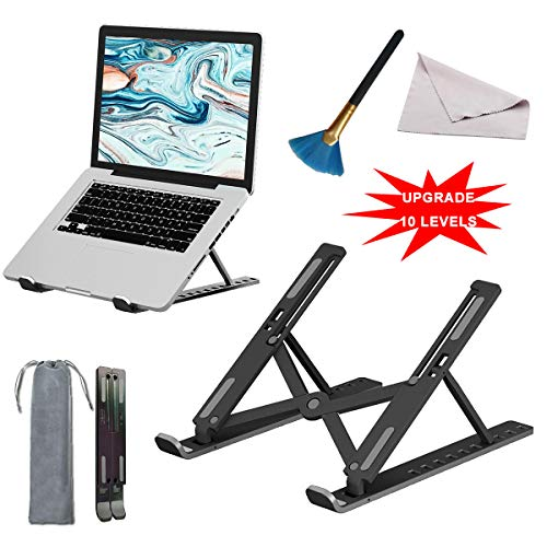 """Anzhee Laptop Stand for Desk, Laptop Riser with 10 level Vertical Height,Desktop Computer RaisingHolder Adjustable Ventilated Notebook Mount, Compatible with most 10-17"""" MacBook Air, Pro, Dell"""