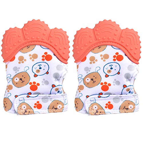 Lot de 2 mitaines de dentition BPA lavables et durables pour bébé Gants de dentition anti-rayures pour bébé Gants de protection (Orange)
