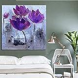 wZUN Imprimir Amapolas púrpuras Modernas Flores de Colores Pintura al óleo Abstracta imágenes de la Pared del Arte Pop en la Lona para la decoración de la Sala de Estar 50x50cm