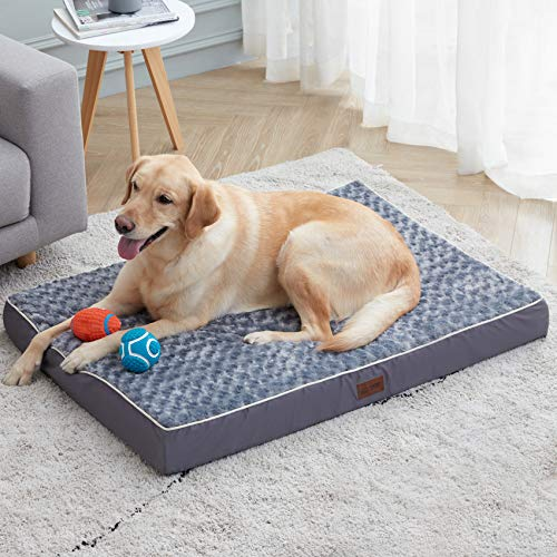 Orthopedic Memory Foam Dog Bed for Small, Medium, Large, Jumbo Dogs, Thick Pet Bed Waterproof Mattress with Removable Washable Cover, Calming Anti-Anxiety Ergonomic Dog Bed with Non-Slip Bottom.