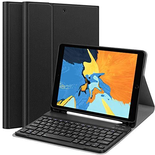 Mitesbony Tastatur Hülle Kompatibel mit iPad 8. Generation/7Gen (2020/2019) 10.2 Zoll, iPad Air 3/Pro 10,5, Schützhülle mit Abnehmbar Bluetooth Tastatur