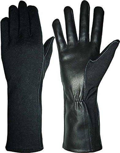 Aviation Flight vuelo pilotos estilo RACING Full negro Nomex guantes de piel libre Reino Unido entrega, negro, small