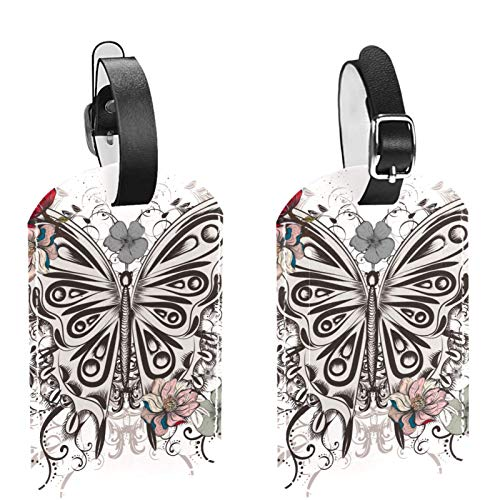 Luggage Tag Set of 2, His Hers Ours Travel Bag Tag, Suitcase Tag, School Bag Tag Boho Hand Draw Butterfly Fowers