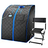 Durasage Personal Ultra Low Emf Portable Infrared Sauna Spa for Weight Loss, Detox, Relaxation at Home, 30 Minute Timer, with Handheld Remote Control, Heated Footpad and Chair, Large, Black