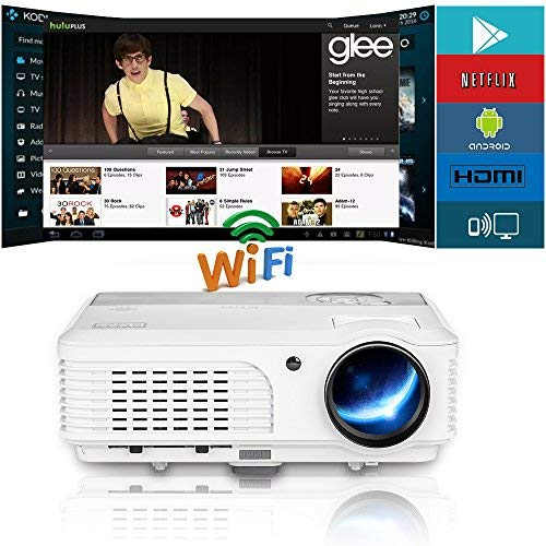 WiFi Android LCD Movie Projector,Multimedia Home Theater Video Projector Support 1080P HDMI USB Audio Ypbpr 3600 Lumen for Outdoor Entertainment DVD Laptop TV Box Game Consoles HD Smart Proyector