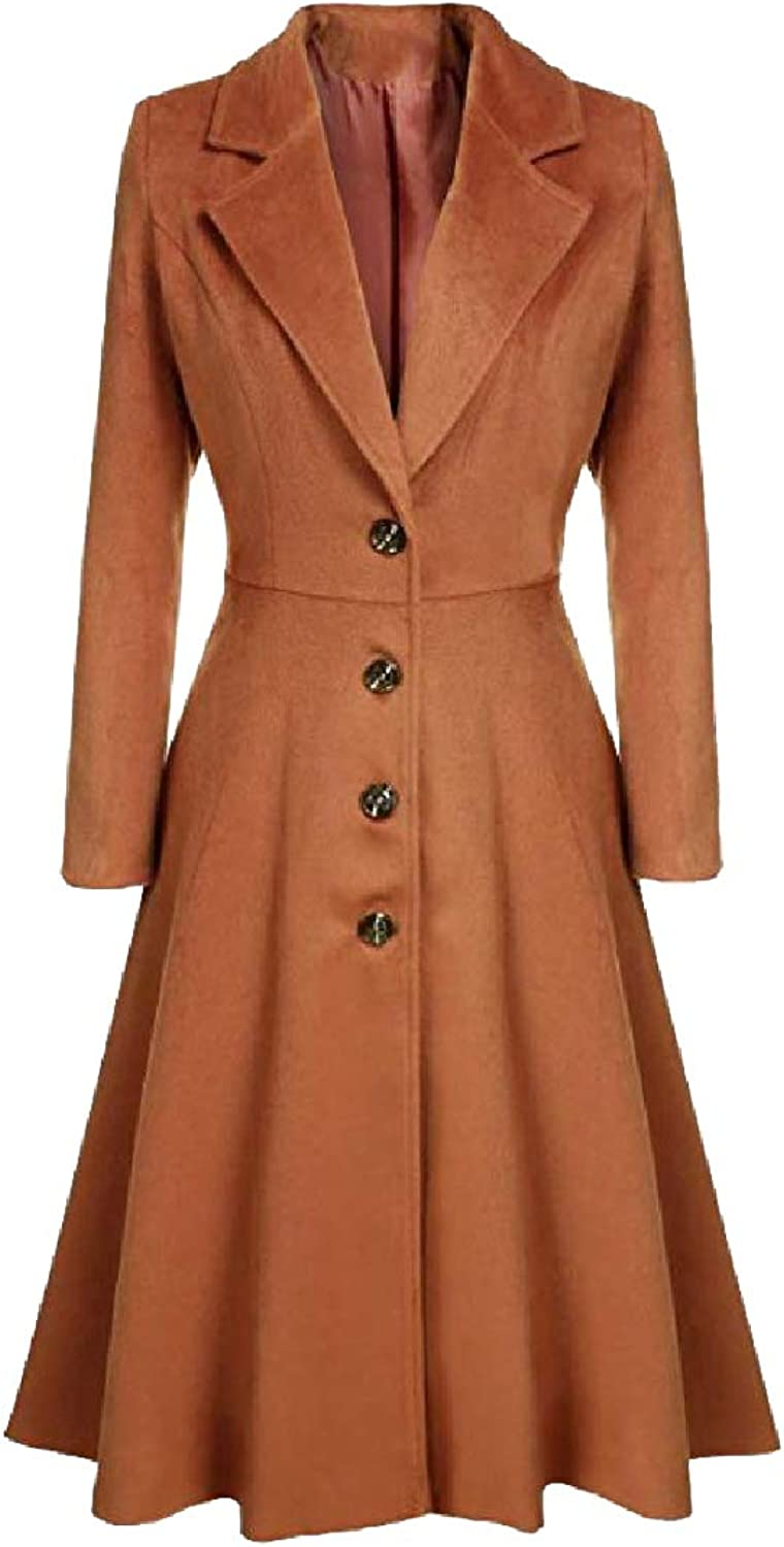 TaoNice Women ThighLength Notched Lapel Skirted Mid Long Overcoat