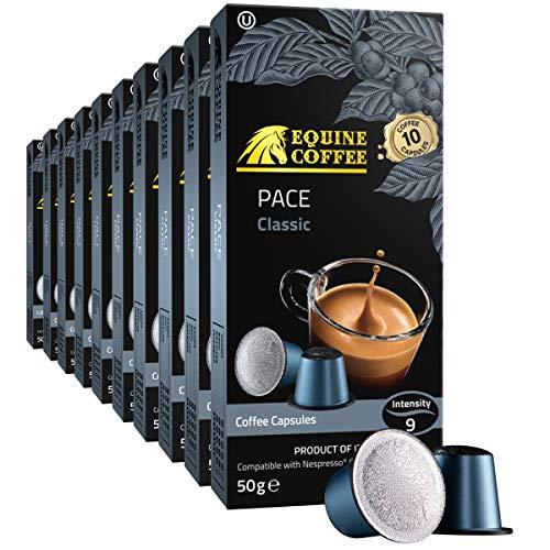 Equine Coffee Pods for Nespresso Original | 100 Pack Italian Nespresso Compatible Capsules (Not Vertuo) | Pace Classic Dark Roast Espresso