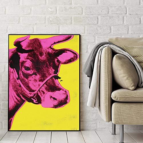 WJY Bunte Kuh Andy Warhol Tiergemälde Wandkunst Abstrakte Bilder für Wohnzimmer Modern Print Poster 60cm x90cm Kein Rahmen