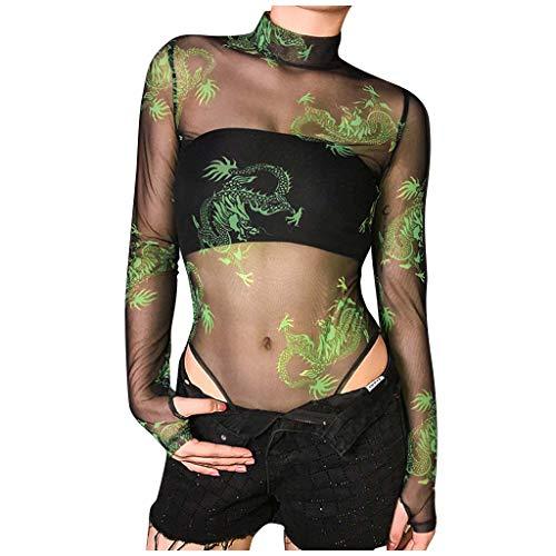 Smony Oberteil für Damen, Netzstoff, glitzernd, Leopard/Floral/Flamme/Drache, transparent, Größe 36-40, sexy Damen-Partybluse, sexy Jumpsuit mit Rollkragen, Grün 2, 34