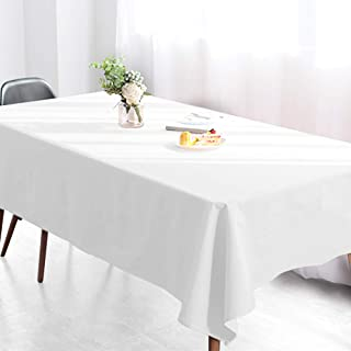 Wimaha White Rectangular Tablecloth for Rectangle Table, 100% Polyester, Machine Washable Fast Dry, Ideal for Kitchen Party Picnic Wedding Holiday, 52 x 70