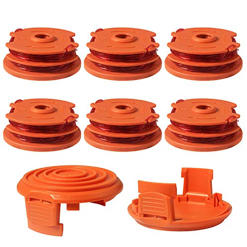 Eyoloty Weed Eater Replacement Spools Compatible with Worx WA0007 WG116 WG119 String Trimmer, Edger Spool Line Refills Parts Auto-Feed 2 x 16ft 0.065 inches, 50019417 Spool Cap Covers (6 Spool, 2 Cap)