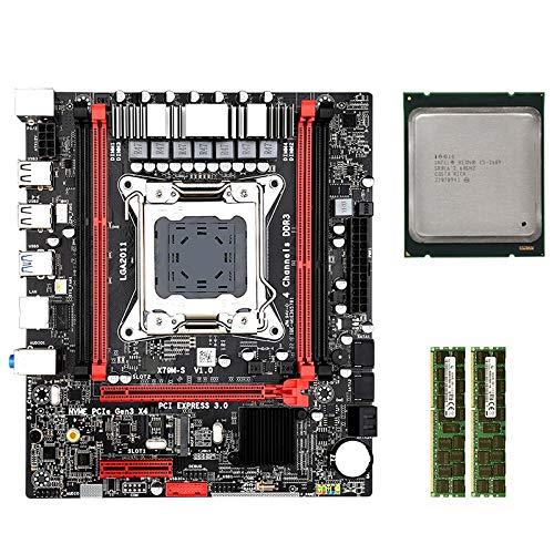Nrpfell Conjunto de Placa Base X79MS LGA2011 Combos con Intel E5 2689 2 X 8GB 16G 1600Mhz DDR3 ECC Soporte M.2 NVMe SATA3 USB3.0