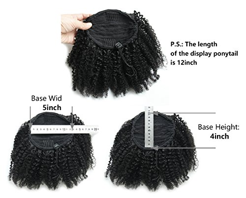 Ms Fenda Hair Raw Remy Virgin Peruvian Human Hair Natural Color Afro Kinky Curly Hair Piece Clip-in Top Closure Ponytail(10inch)