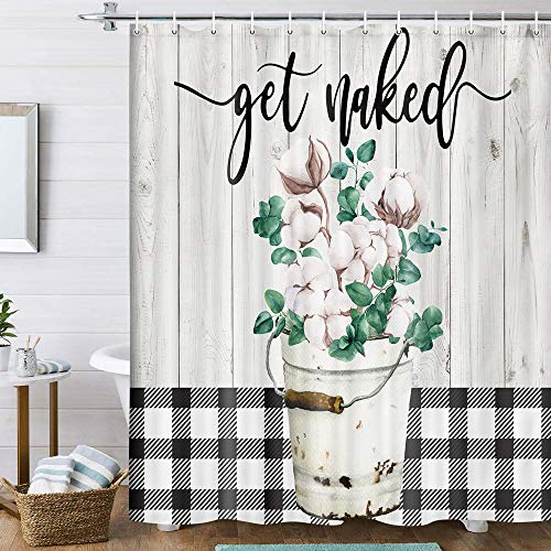 Farmhouse Floral Shower Curtain, Rustic Cotton Flowers Grey Wooden Shower Curtains, Country Black and White Buffalo Check Shower Curtain for Bathroom, Fabric Bathroom Curtain with Hooks, 70X70IN