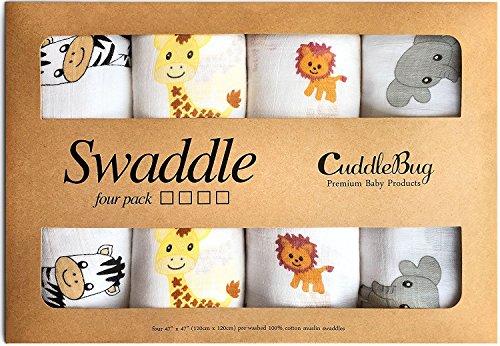 CuddleBug Mussole Neonato Pacco da 4 - Copertina neonato leggera disponibile in 4 design - Mussola neonato 120 cm X 120 cm - Copertina neonato cotone