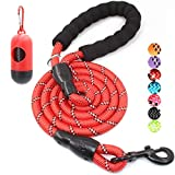 BAAPET 4/5/6 FT Strong Dog Leash with Comfortable Padded Handle and Highly Reflective Threads for Small Medium and Large Dogs (6FT-1/2'', Red)