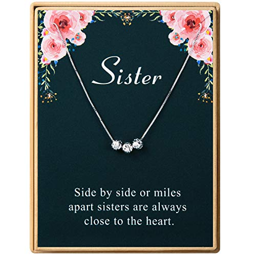925 Sterling Silver Sister Birthday Gifts Necklace Three Small Beads Necklace Women Jewelry Friends Gift Christmas Gift