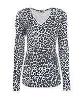 T-Shirt Top Leopard Print Tee Top Long Sleeve Machine Washable
