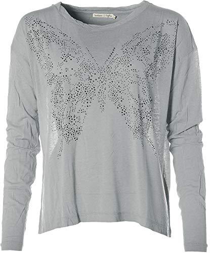 Barbara Becker Damen Langarm T-Shirt U-Boot Ausschnitt Strass Butterfly Silvergrey Mel 40
