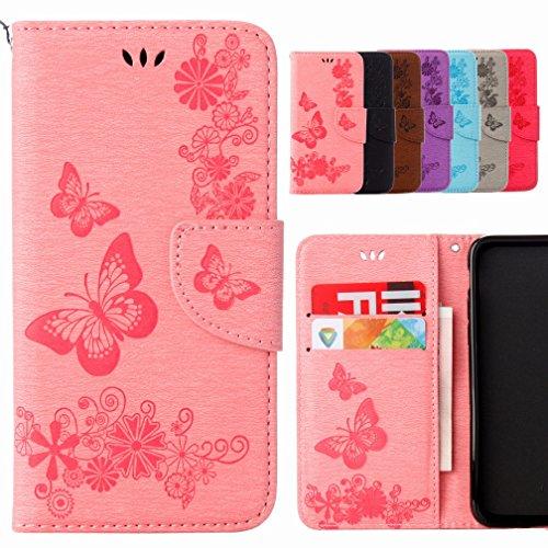 Yiizy Handyhülle für Samsung Galaxy S6 Edge G9250 Hülle, Schmetterling Blume Entwurf PU Ledertasche Beutel Tasche Leder Haut Schale Skin Schutzhülle Cover Stehen Kartenhalter Stil Schutz (Rosa)