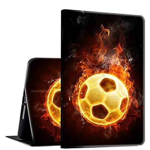 Funda para Galaxy Tab A 10.1 (2016,SM-T580/T585/587, funda de piel sintética con función atril ajustable y apagado automático para Samsung Galaxy Tab A 10.1 pulgadas 2016, serie Fuego de fútbol