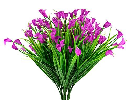4pcs Artificial Calla Lily Arbustos Falsos Plantas Falsas Resistentes a los Rayos Bujes de plástico sintético