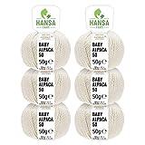 100% Baby Alpakawolle in 50+ Farben (kratzfrei) - 300g Set (6 x 50g) - weiche Alpaka Wolle zum Stricken & Häkeln in 6 Garnstärken by Hansa-Farm - Wildsnow uni (Grau)