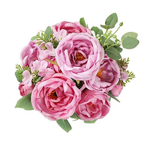 Floweroyal Peonia Artificiale Fiori di Seta Vintage Bouquet da Sposa con 6 Teste di Fiori Sbocciati per Centrotavola da Sposa Composizioni Floreali per La Casa (Viola)