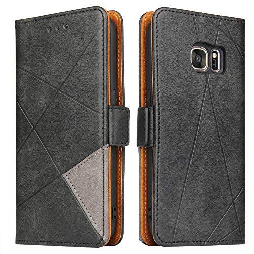 BININIBI Hülle für Samsung Galaxy S7, Klapphülle Handyhülle Schutzhülle für S7 Tasche, Lederhülle Handytasche mit [Kartenfach] [Standfunktion] [Magnetisch] für Samsung Galaxy S7, Schwarz
