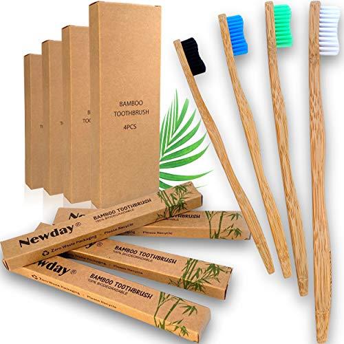 Brosses à dents en Bambou Pack de 4 couleur biodégradable végétalien emballage individuel et écologique 100% naturel en bois poils souple avec poignées design ergonomique pour toute la famille.