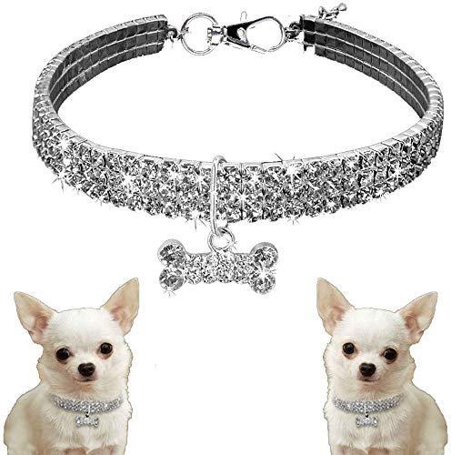 Dalmation Collar de perro con colgante de hueso de Swarovski, talla M
