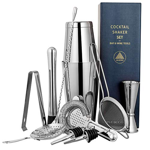 11-Piece Silver Cocktail Shaker Bar Set: Weighted Boston Cocktail Shakers, Strainers, Double Jigger, Muddler & Spoon, Ice Tong & 2 Liquor Pourers - Essential Mixology Bartender Kit