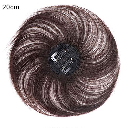 Fanville Invisible Hair Topper Clip-on Topper Couverture Droite Extension Blanche Cheveux rares Cheveux
