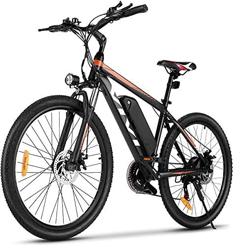 VIVI Bicicletta Elettrica Pedalata Assistita, 26''/27,5' Mountain Bike Elettrica, 250W Bici Elettrica Con Batteria Agli Ioni Di Litio Rimovibile Da 10,4 Ah, Shimano 21 Velocità (26 Pollici-Giallo)