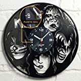 """Vinyra Vinyl Wall Clock Compatible with Retro Rock Band Themed Vintage Home - Gift Set Idea for Music Lovers Men Women Her Him - Collectibles Room Decorations Art Decor 12"""" LP Record Clock Black"""