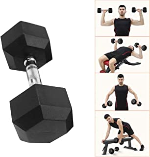 Barbell Set Hex Rubber Dumbbell With Metal Handles Heavy Dumbbells, Choose Weight(5lbs 2 pcs,10lbs 2 pcs, 20lbs 2 pcs, 30lbs 1 pcs, 50lbs 1 pcs) (30lbs, Black)