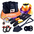 Autofonder 11Pcs Recovery Gear Offroad 4x4 kit-3 Pk Snatch Straps+2 D-Shackles+Snatch Block+Folding Survival Shovel+Tire Deflator+ Leather Gloves+Winch Dampener +Gear Bag- Tow Strap Recovery Set